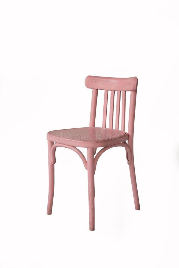 Ρόδινη ξύλινη καρέκλα σε ένα άσπρο υπόβαθρο   στοκ εικόνες με δικαίωμα ελεύθερης χρήσης