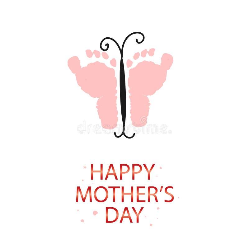 Ρόδινη πεταλούδα με τις τυπωμένες ύλες ποδιών μωρών Ευτυχής ευχετήρια κάρτα ημέρας μητέρων Να έρθει σύντομα μωρό Το γένος μωρών α ελεύθερη απεικόνιση δικαιώματος