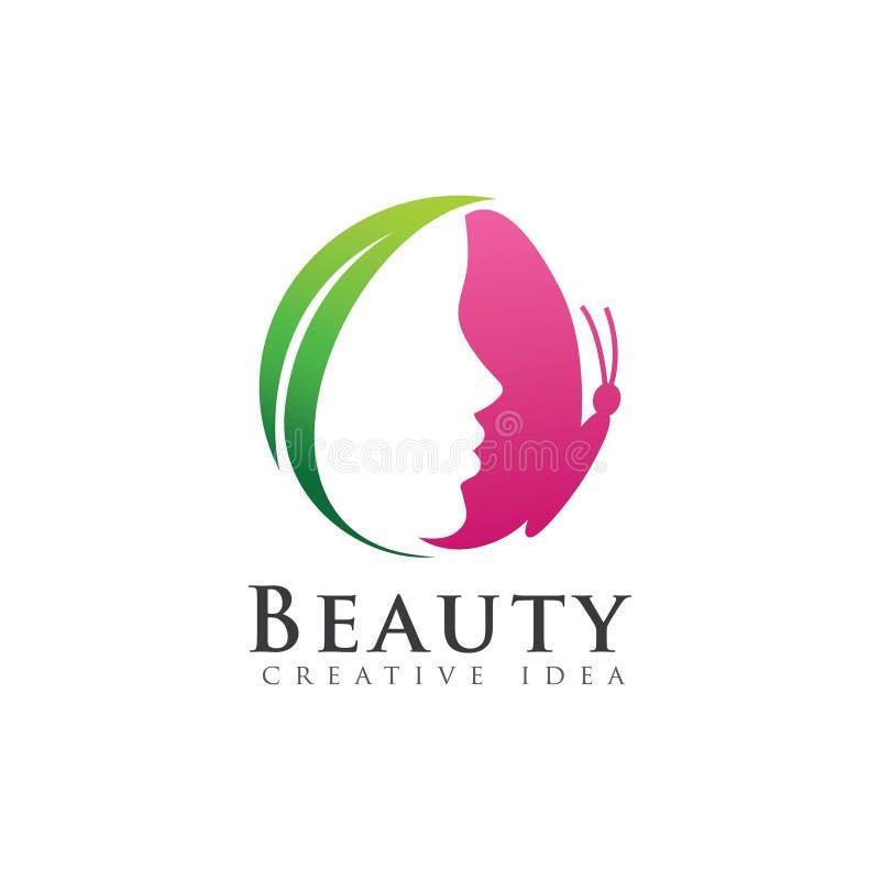 Ρόδινη πεταλούδα με το λογότυπο γυναικών προσώπου διανυσματική απεικόνιση