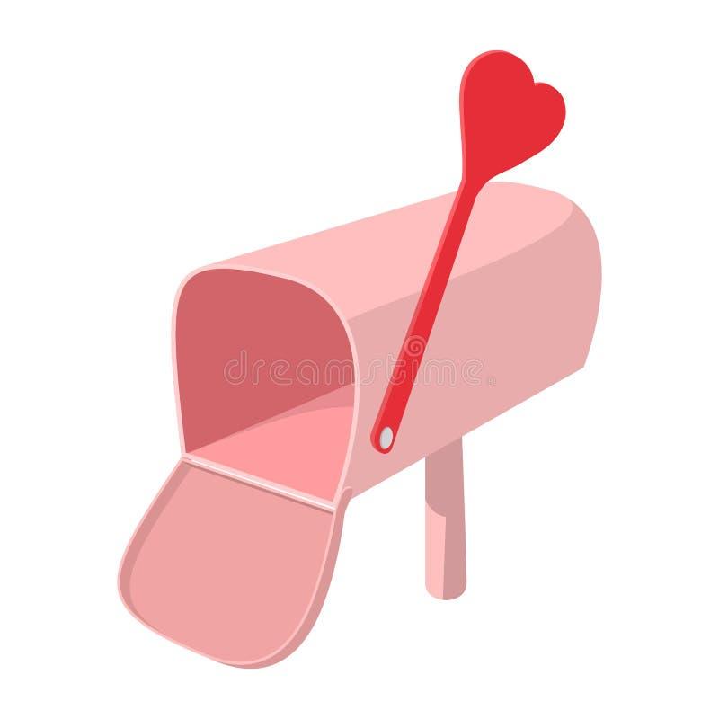 Ρόδινη ταχυδρομική θυρίδα με το εικονίδιο κινούμενων σχεδίων βελών cupid απεικόνιση αποθεμάτων