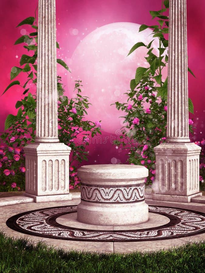 Ρόδινη φυτεία με τριανταφυλλιές με τις στήλες ελεύθερη απεικόνιση δικαιώματος