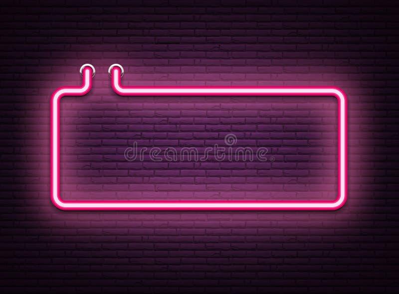 Ρόδινη φωτεινή πινακίδα νέου στο ρεαλιστικό τοίχο πλινθοδομής διανυσματική απεικόνιση