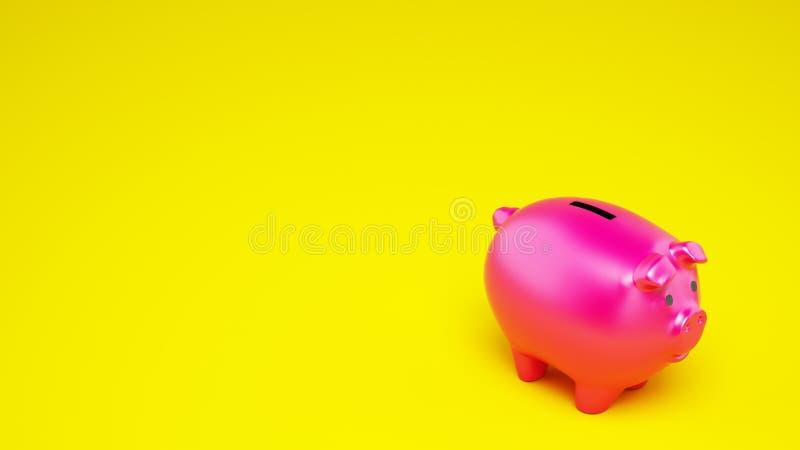 Ρόδινη piggy τράπεζα στο κίτρινο υπόβαθρο r στοκ εικόνα με δικαίωμα ελεύθερης χρήσης