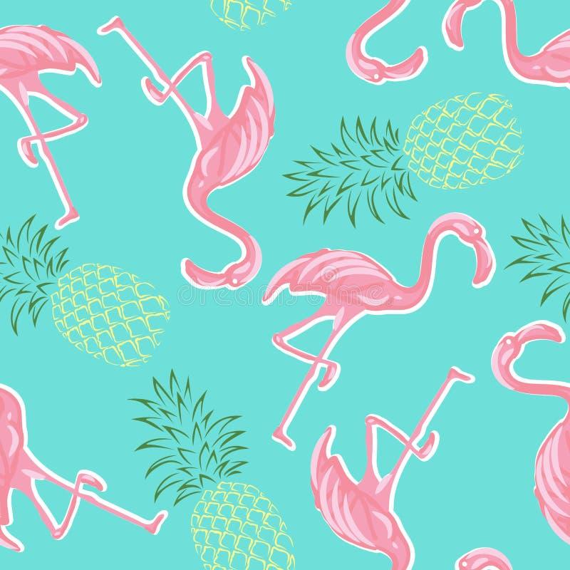 Ρόδινοι φλαμίγκο και ανανάδες στο μπλε άνευ ραφής σχέδιο υποβάθρου διανυσματική απεικόνιση