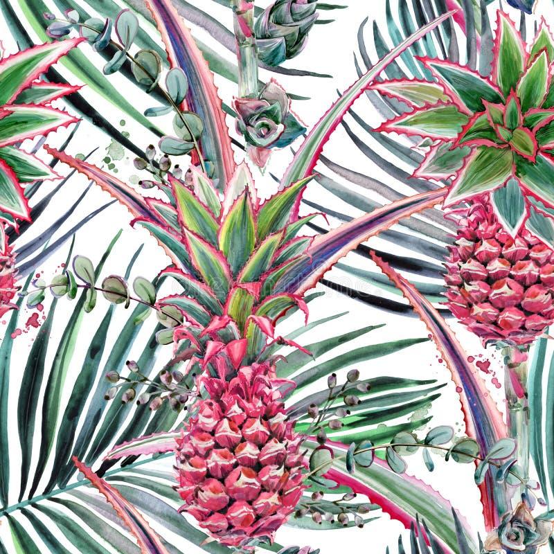 Ρόδινος ανανάς, τροπικό άνευ ραφής σχέδιο watercolor εγκαταστάσεων απεικόνιση αποθεμάτων