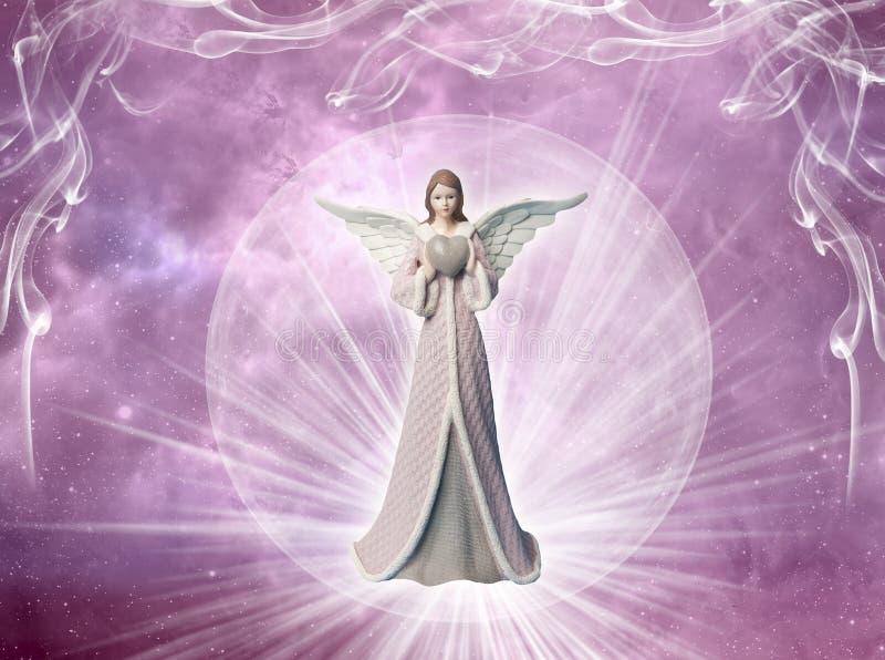 Ρόδινος αρχάγγελος αγγέλου με την καρδιά και τις ακτίνες του φωτός όπως την έννοια αγάπης, ειρήνης και πεποίθησης απεικόνιση αποθεμάτων