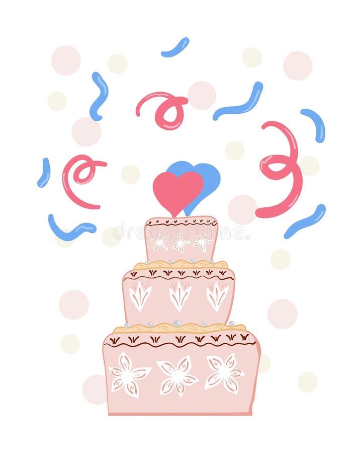 ρόδινος γάμος κέικ ελεύθερη απεικόνιση δικαιώματος