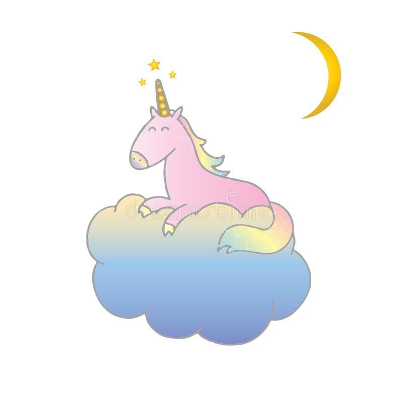 Ρόδινος διανυσματικός ύπνος μονοκέρων ελεύθερη απεικόνιση δικαιώματος