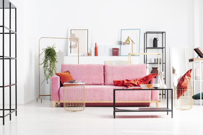 Ρόδινος καναπές στη μέση του φωτεινού καθιστικού που σχεδιάζεται με τη γεωμετρική ακρίβεια στο σύγχρονο διαμέρισμα στοκ εικόνες με δικαίωμα ελεύθερης χρήσης