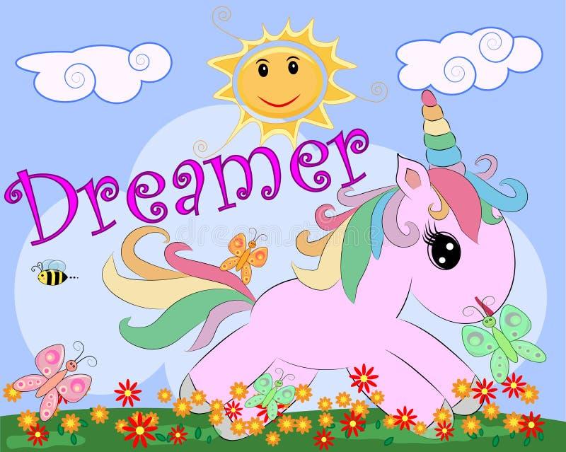 Ρόδινος μονόκερος σε ένα λιβάδι με τα λουλούδια, ουράνιο τόξο, ήλιος Απεικόνιση παιδιών, χαρακτήρας παραμυθιού, ονειροπόλος απεικόνιση αποθεμάτων
