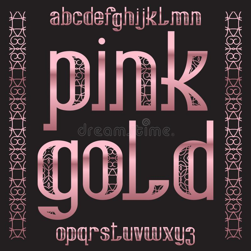 Ρόδινος χρυσός χαρακτήρας Αυξήθηκε χρυσή διαμορφωμένη πηγή Απομονωμένο περίκομψο αγγλικό αλφάβητο απεικόνιση αποθεμάτων
