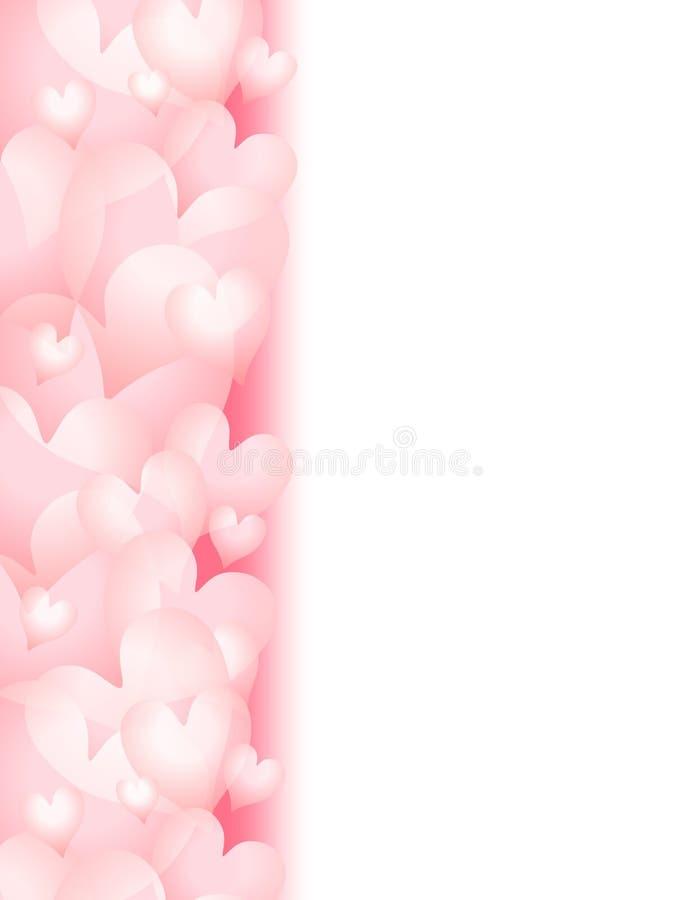 ρόδινος s ημέρας συνόρων μαλακός βαλεντίνος καρδιών διανυσματική απεικόνιση