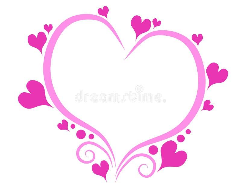 ρόδινος s καρδιών ημέρας διακοσμητικός βαλεντίνος περιγραμμάτων διανυσματική απεικόνιση