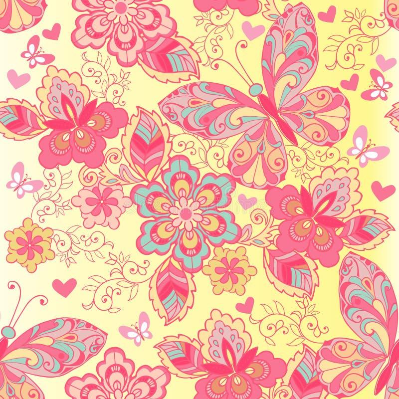 Ρόδινο άνευ ραφής σχέδιο των πεταλούδων και των λουλουδιών Διακοσμητικό σκηνικό διακοσμήσεων για το ύφασμα, κλωστοϋφαντουργικό πρ διανυσματική απεικόνιση