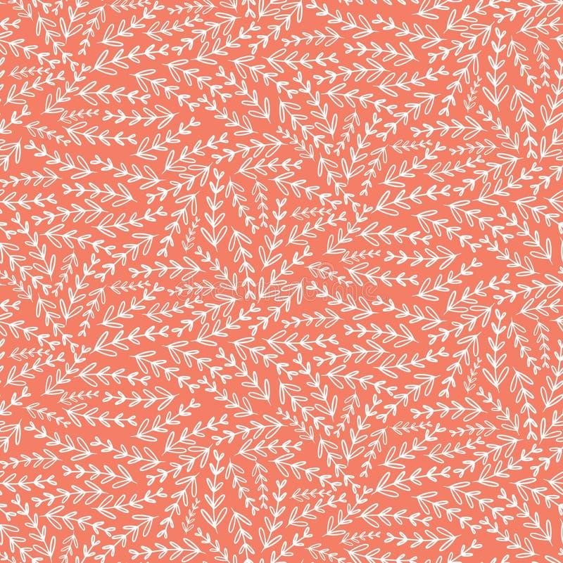 Ρόδινο άσπρο άνευ ραφής σχέδιο σύστασης φύλλων floral απεικόνιση αποθεμάτων