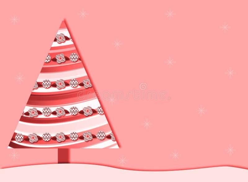 ρόδινο αναδρομικό δέντρο Χριστουγέννων ανασκόπησης απεικόνιση αποθεμάτων