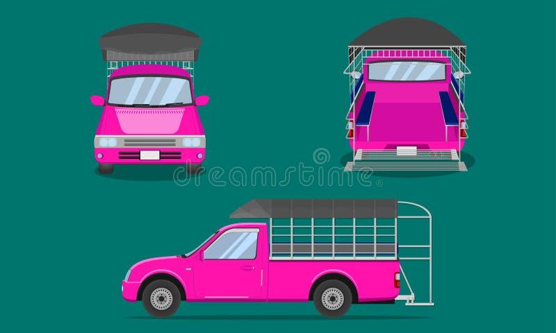 Ρόδινο ανοιχτό φορτηγό με την πλαστική τοπ κάλυψης κιγκλιδωμάτων χάλυβα αυτοκινήτων επιβατών διανυσματική απεικόνιση eps10 μεταφο διανυσματική απεικόνιση
