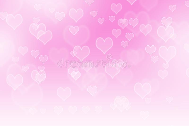 Ρόδινο αφηρημένο υπόβαθρο καρδιών bokeh απεικόνιση αποθεμάτων