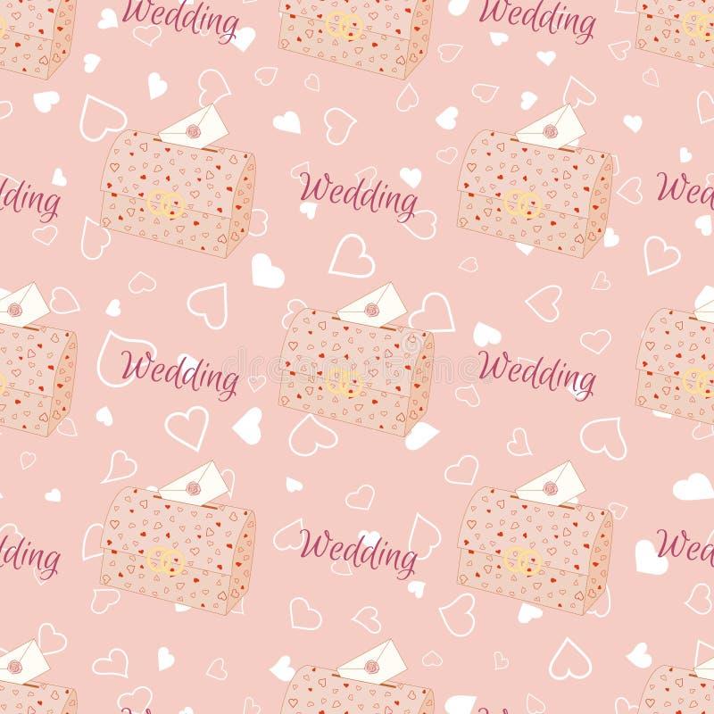 Ρόδινο γαμήλιο άνευ ραφής σχέδιο με το στήθος απεικόνιση αποθεμάτων