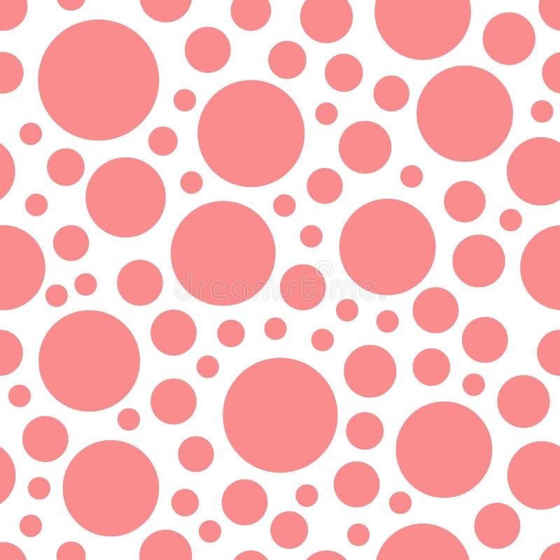 Ρόδινο γεωμετρικό σημείο Πόλκα κύκλων στο άσπρο άνευ ραφής σχέδιο υποβάθρου ελεύθερη απεικόνιση δικαιώματος