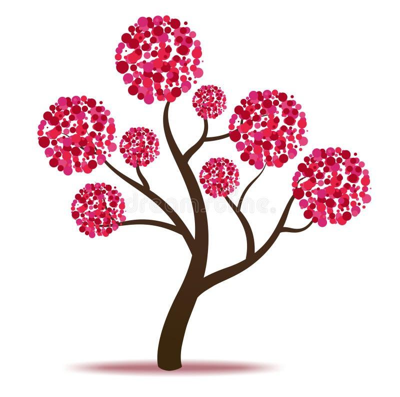Ρόδινο δέντρο - διάνυσμα διανυσματική απεικόνιση