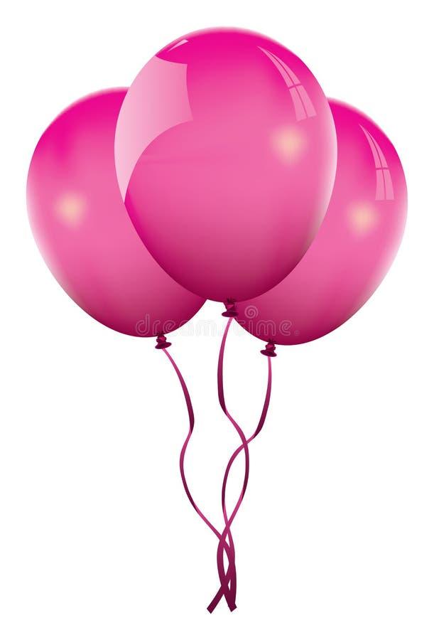 ρόδινο διάνυσμα μπαλονιών ελεύθερη απεικόνιση δικαιώματος