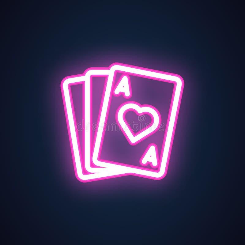 Ρόδινο εικονίδιο γραμμών νέου ACE διαμαντιών Σημάδι χαρτοπαικτικών λεσχών Παίζοντας ηλεκτρική πυράκτωση καρτών Κίνδυνος, τύχη, εν απεικόνιση αποθεμάτων