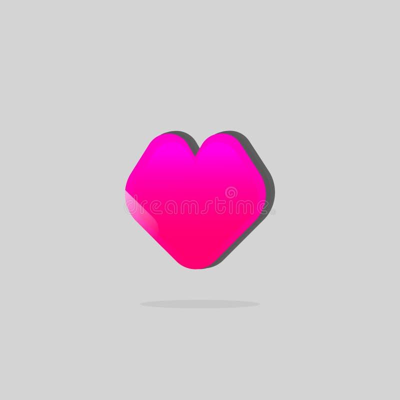 Ρόδινο επίπεδο εικονίδιο καρδιών Καρδιά κοριτσιών διάνυσμα αγάπης καρδιών emo έννοιας ελεύθερη απεικόνιση δικαιώματος