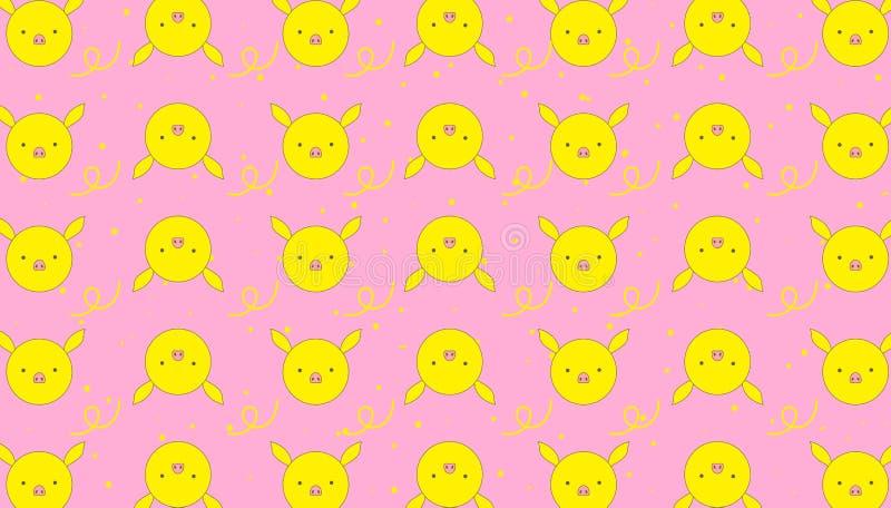 Ρόδινο επίπεδο σχέδιο υποβάθρου σχεδίων κίτρινο piggy για τις προμήθειες μωρών διανυσματική απεικόνιση