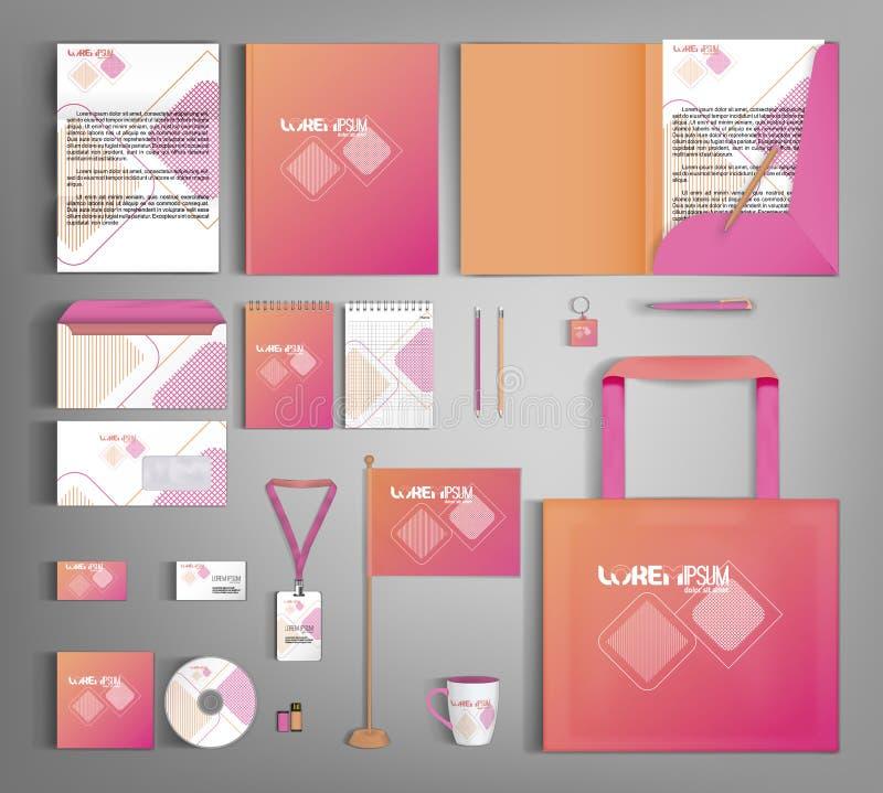 Ρόδινο εταιρικό σχέδιο προτύπων ταυτότητας Σύνολο επιχειρησιακών χαρτικών διανυσματική απεικόνιση