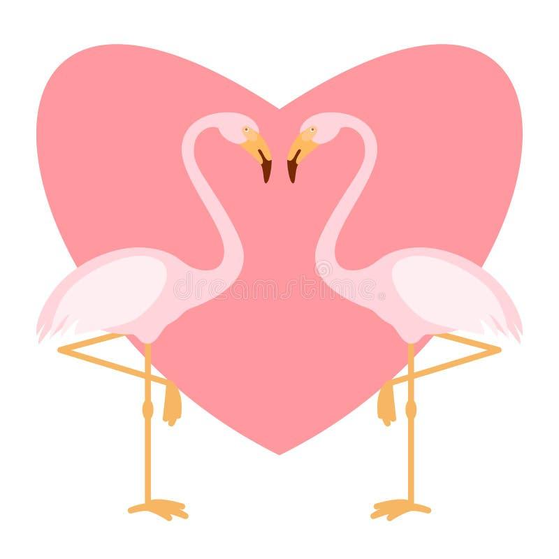 Ρόδινο ζευγάρι flamingoes, απεικόνιση αγάπης, δύο πουλιά αγάπης, διάνυσμα διανυσματική απεικόνιση