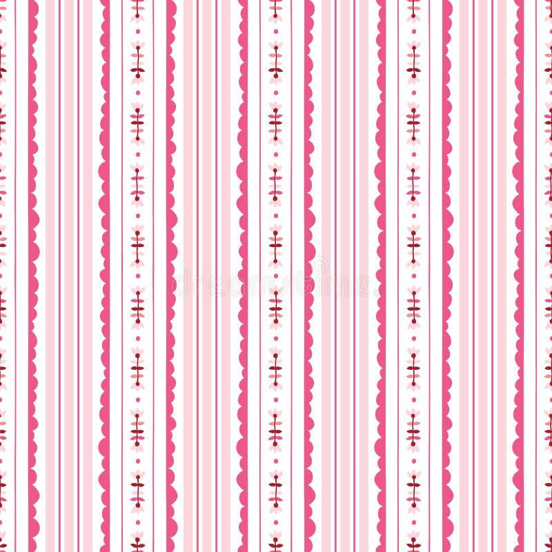 Ρόδινο και άσπρο Floral διανυσματικό άνευ ραφής σχέδιο υποβάθρου λωρίδων Σύγχρονο κλασικό γεωμετρικό σχέδιο Μονοχρωματικά λουλούδ διανυσματική απεικόνιση