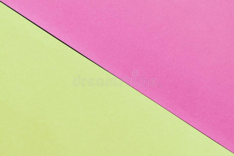 Ρόδινο και κίτρινο υπόβαθρο εγγράφου Διπλός συνδυασμός χρώματος στοκ φωτογραφία