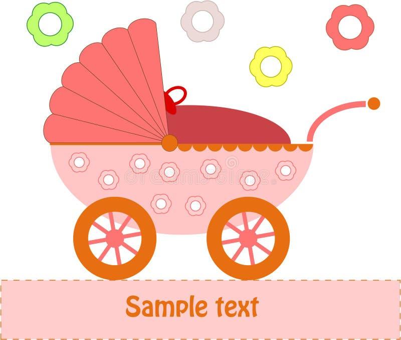 ρόδινο καροτσάκι μωρών απεικόνιση αποθεμάτων