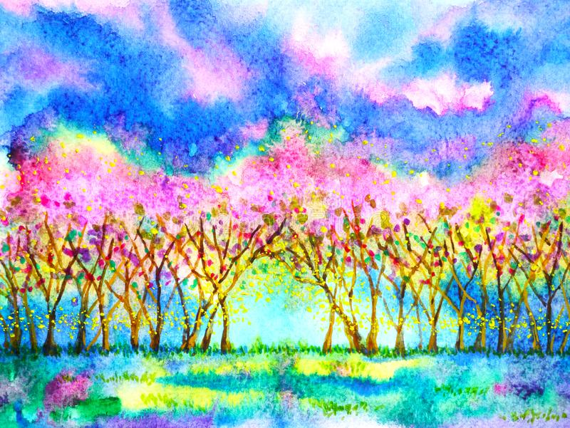 Ρόδινο κερασιών συρμένο χέρι σχέδιο απεικόνισης ζωγραφικής watercolor εποχής άνοιξης ανθών δασικό διανυσματική απεικόνιση