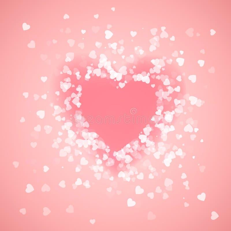 Ρόδινο κομφετί μορφής καρδιών Παφλασμός με το ρόδινο πλαίσιο καρδιών μέσα ευτυχής s βαλεντίνος ημέρ&alp επίσης corel σύρετε το δι διανυσματική απεικόνιση