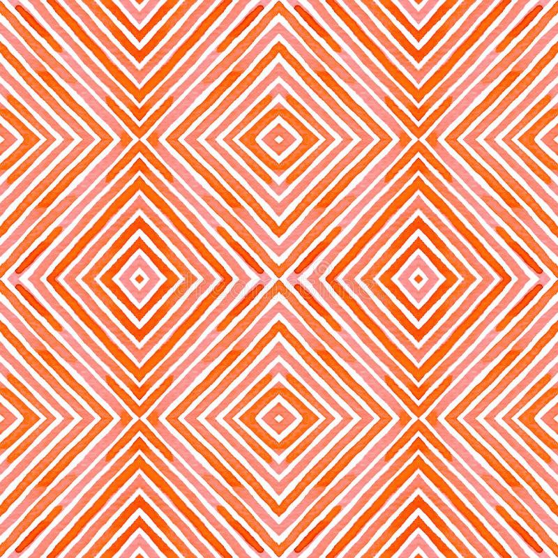Ρόδινο κόκκινο γεωμετρικό Watercolor Λεπτό άνευ ραφής σχέδιο Συρμένα χέρι λωρίδες Σύσταση βουρτσών Pleasan διανυσματική απεικόνιση