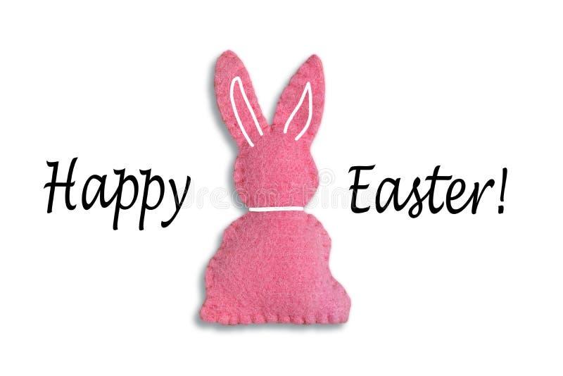 """Ρόδινο λαγουδάκι Πάσχας με το κείμενο """"ευτυχές Πάσχα """"και ένα άσπρο υπόβαθρο στοκ φωτογραφίες με δικαίωμα ελεύθερης χρήσης"""