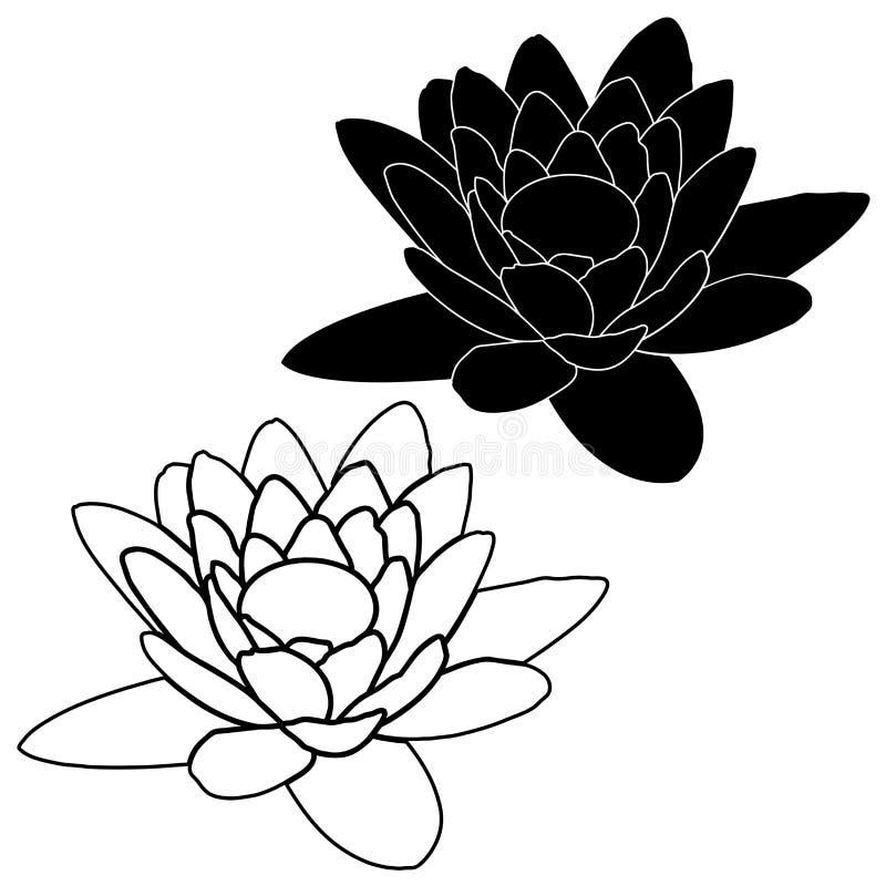Ρόδινο λουλούδι λωτού στο ύφος κινούμενων σχεδίων που απομονώνεται στο άσπρο υπόβαθρο διανυσματική απεικόνιση