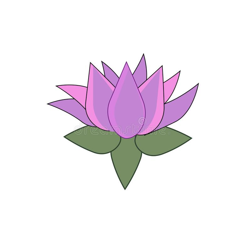 Ρόδινο λουλούδι λωτού ως χωριστό στοιχείο σχεδίου ελεύθερη απεικόνιση δικαιώματος