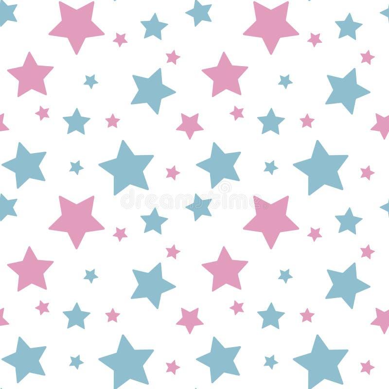 Ρόδινο μπλε αστεριών κρητιδογραφιών ζωηρόχρωμο στο άσπρο σχέδιο υποβάθρου seaml ελεύθερη απεικόνιση δικαιώματος