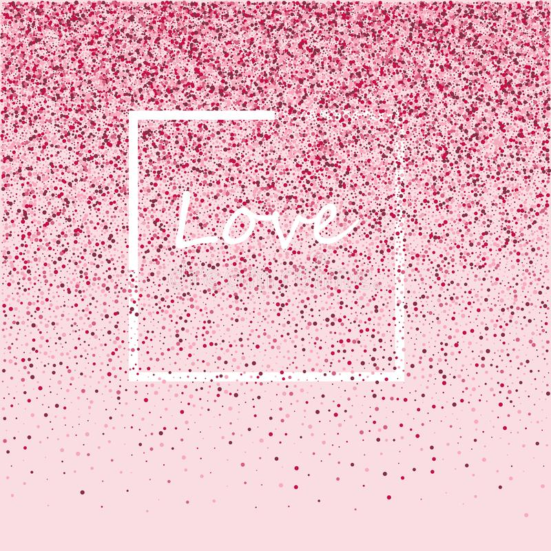 Ρόδινο πλαίσιο από το ρόδινο κομφετί Ρομαντικό υπόβαθρο με τη θέση κειμένων ελεύθερη απεικόνιση δικαιώματος