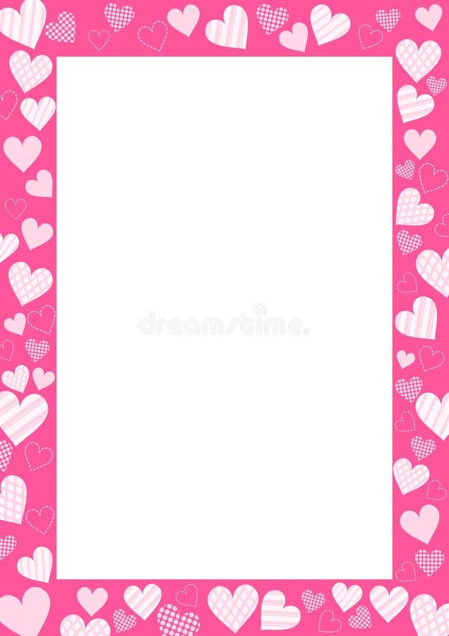 Ρόδινο πλαίσιο καρδιών Σύνορα βαλεντίνων clipart r ελεύθερη απεικόνιση δικαιώματος
