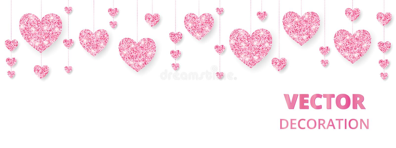 Ρόδινο πλαίσιο καρδιών, σύνορα Το διάνυσμα ακτινοβολεί απομονωμένος στο λευκό Για τη διακόσμηση των καρτών βαλεντίνων και ημέρας  απεικόνιση αποθεμάτων
