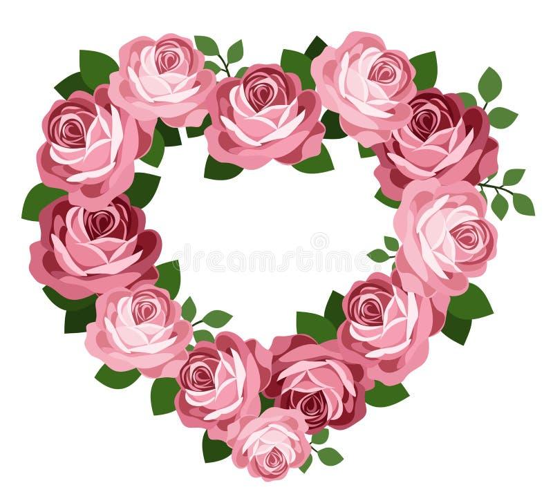 Ρόδινο πλαίσιο καρδιών τριαντάφυλλων. ελεύθερη απεικόνιση δικαιώματος