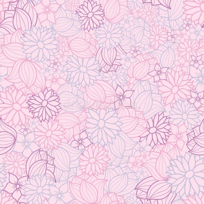 Ρόδινο, πορφυρό και μπλε διανυσματικό floral άνευ ραφής υπόβαθρο σχεδίων διανυσματική απεικόνιση