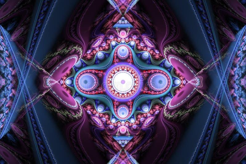 Ρόδινο πορφυρό fractal fraktal γεωμετρικό σχεδίων ταπετσαριών σχέδιο ιπτάμενων κάλυψης υποβάθρου τέχνης artsy απεικόνιση αποθεμάτων