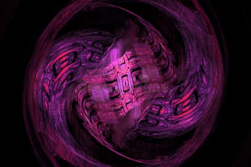 Ρόδινο πορφυρό fractal fraktal γεωμετρικό σχεδίων ταπετσαριών σχέδιο ιπτάμενων κάλυψης υποβάθρου τέχνης artsy διανυσματική απεικόνιση