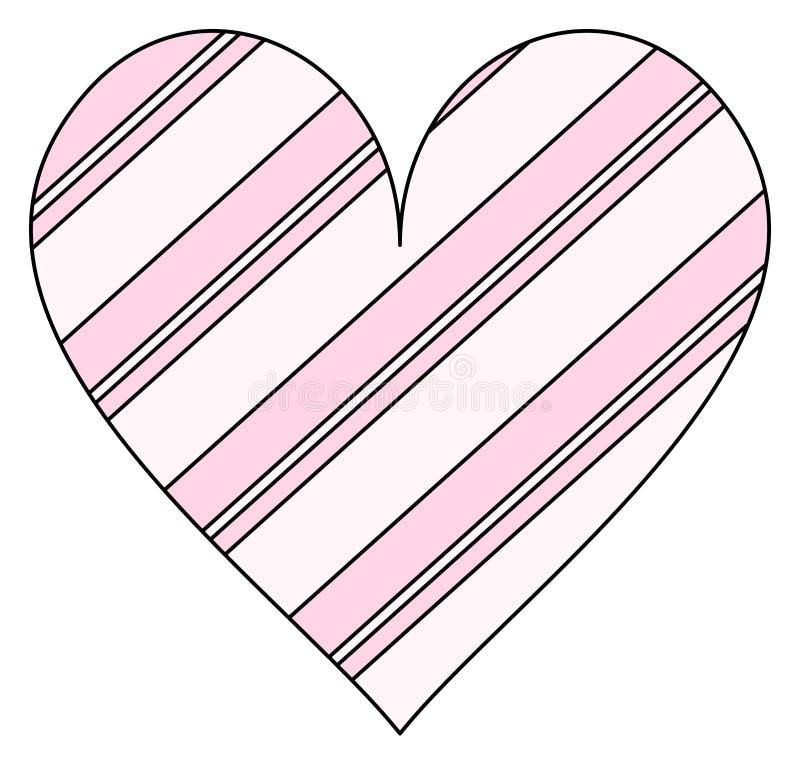 Ρόδινο ριγωτό εικονίδιο καρδιών r απεικόνιση αποθεμάτων