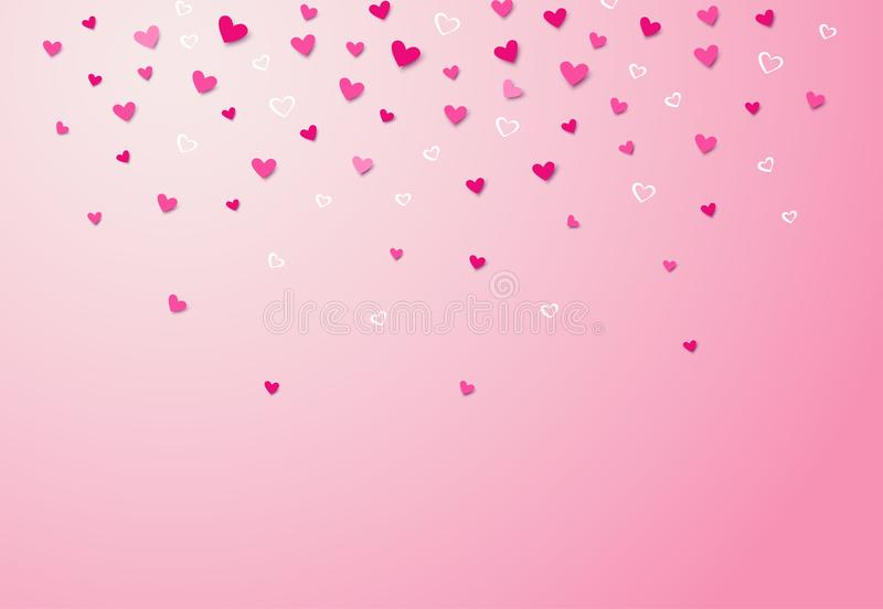 Ρόδινο ρομαντικό υπόβαθρο με τις μειωμένες καρδιές Διανυσματική απεικόνιση EPS10 ελεύθερη απεικόνιση δικαιώματος